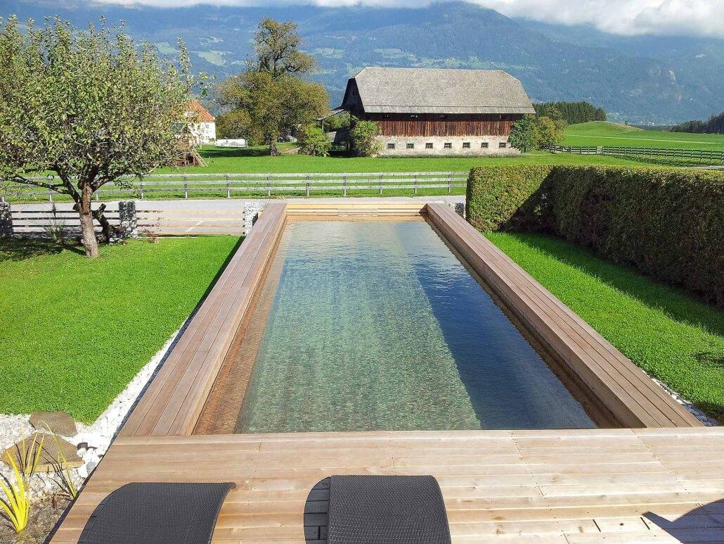 Holc Naturpool im Garten mit Holzhaus